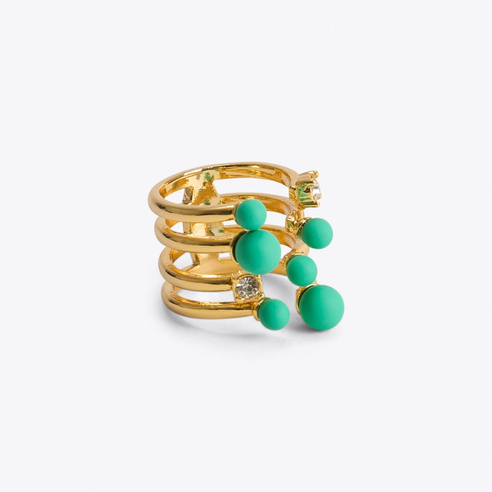 Pistachio & Crystal Cocktail Ring Gold