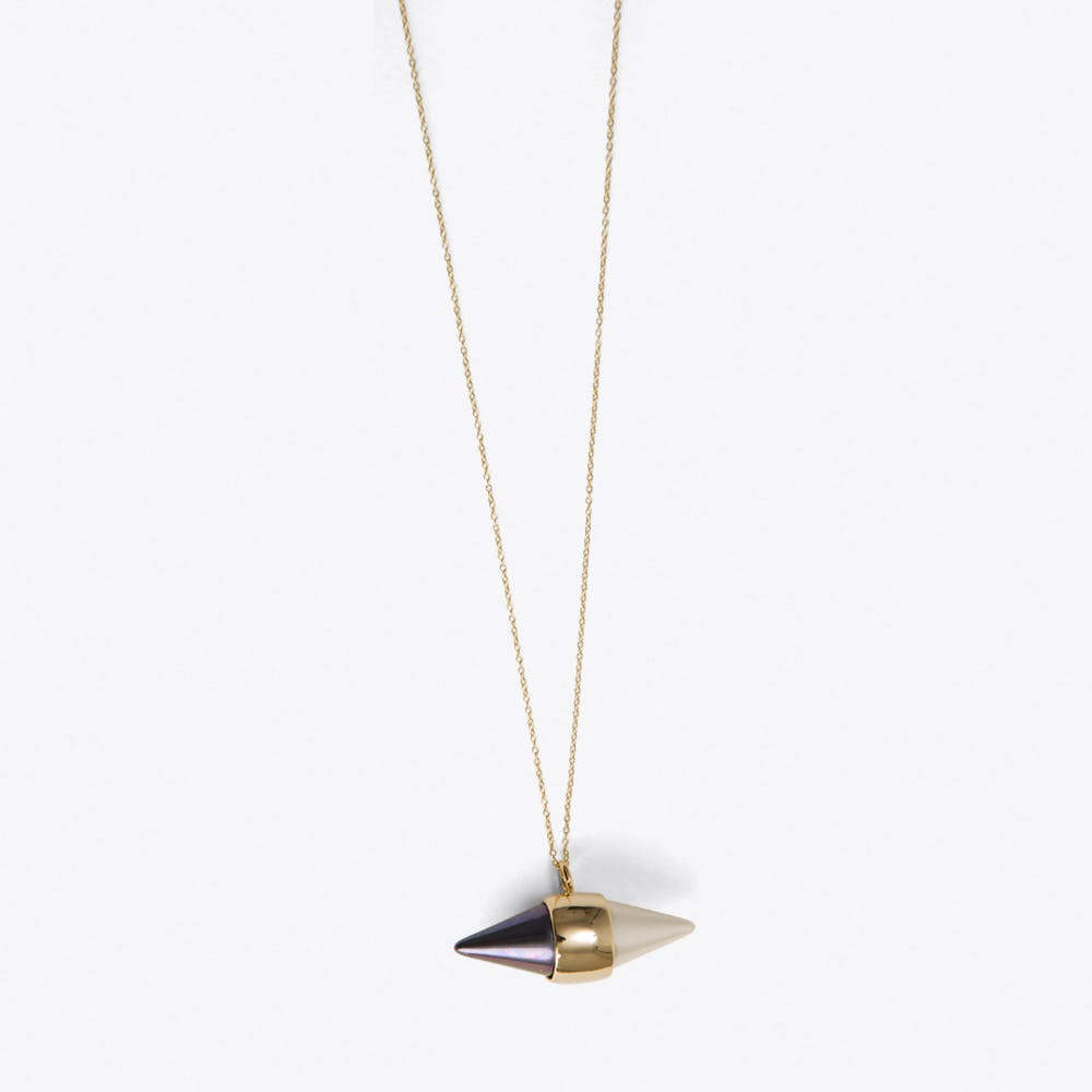 Pearl Geometric Capsule Necklace in Gold