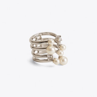 Crystal & Pearl Cocktail Ring in Silver