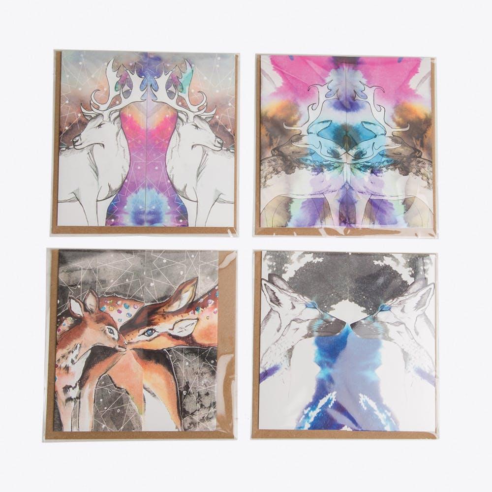 Christmas Kiss Cards, Set of 4
