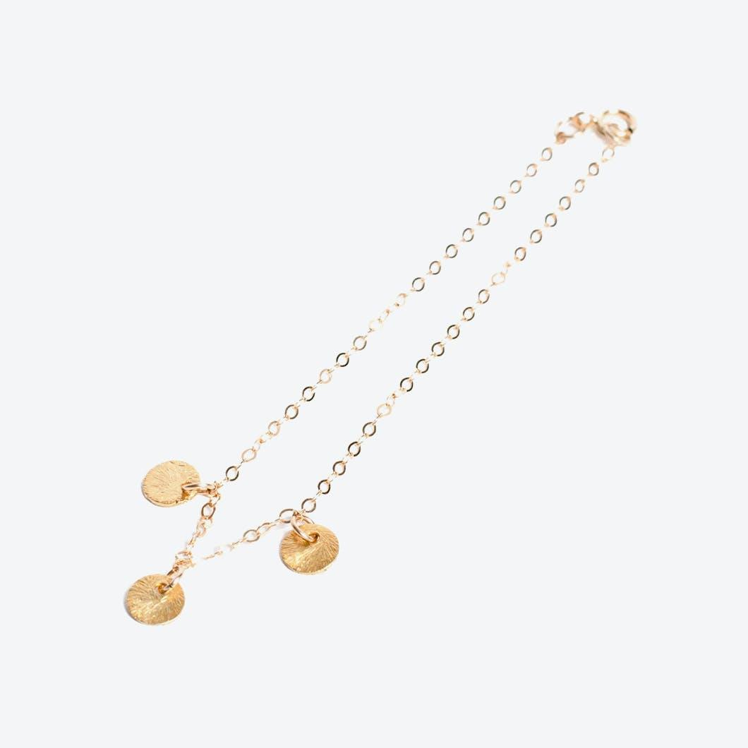 Tiny Disk Bracelet in Gold