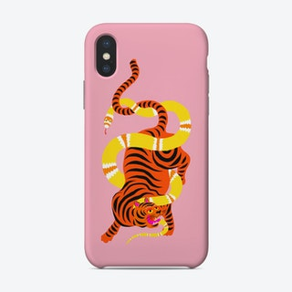 Tiger And Snake Battle Pink Phone Case