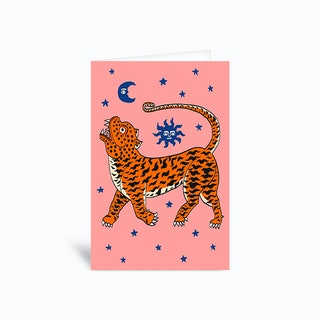 Tiger Temple Stars Pink Greetings Card