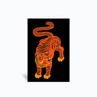 Tiger Black Greetings Card