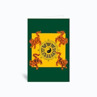 Bagua Tigers Green Greetings Card