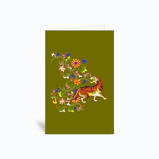 Tiger Tapestry Greetings Card