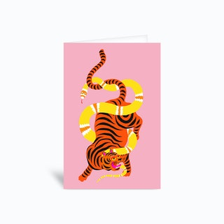 Tiger And Snake Battle Pink Greetings Card
