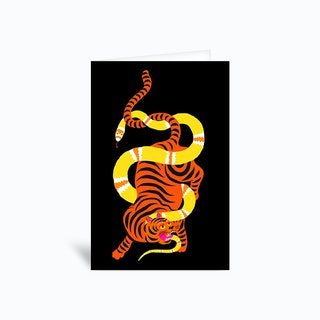 Tiger And Snake Battle Black Greetings Card