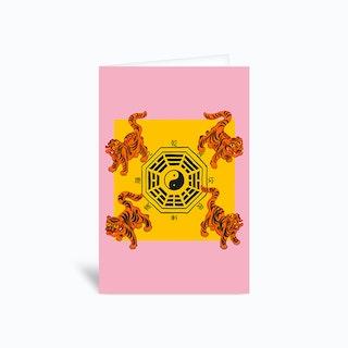 Bagua Tigers Pink Greetings Card