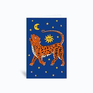Tiger Temple Stars Blue Greetings Card