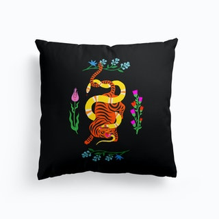 Tiger And Snake Battle Flowers Cushion