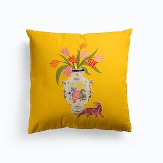 Porcelain And Tulips Cushion