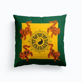 Bagua Tigers Green Cushion