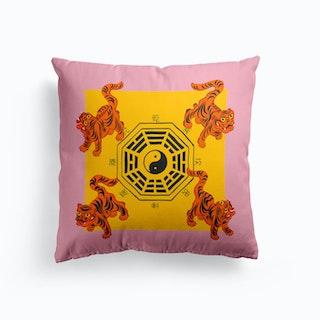 Bagua Tigers Pink Cushion