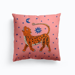 Tiger Temple Stars Pink And Blue Cushion