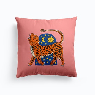 Tiger Magic Door Pink And Blue Cushion