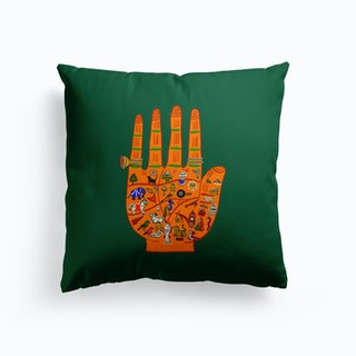 Indian Palmistry Green And Yellow Cushion
