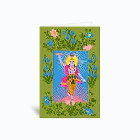 Krishna Green Greetings Card