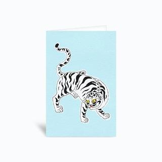 White Tiger Greetings Card