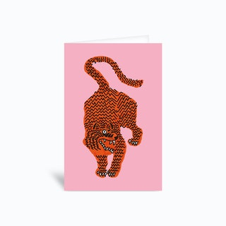 Tiger Pink Greetings Card