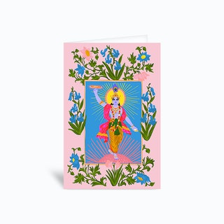 Krishna Pink Greetings Card