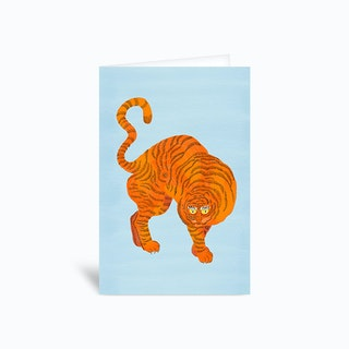 Tiger Blue Greetings Card