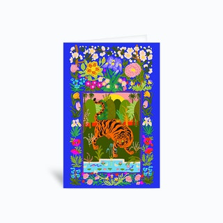 Tiger Garden Blue Greetings Card