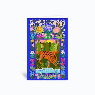 Tiger Garden Blue Greetings Card