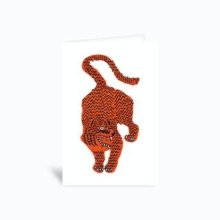Tiger Pink White Greetings Card