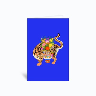 Good Luck Tiger Blue Greetings Card