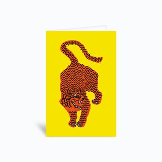 Tiger Pink Yellow Greetings Card