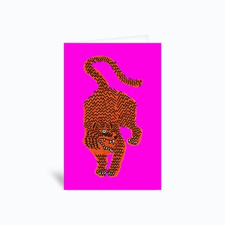 Tiger Pink Fluo Pink Greetings Card