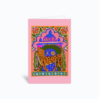 Tiger Temple Pink Greetings Card