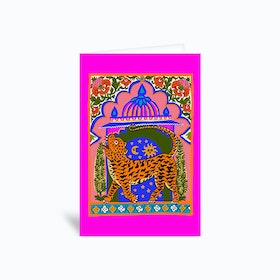 Tiger Temple Fluo Pink Greetings Card