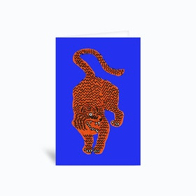 Tiger Pink Blue Greetings Card