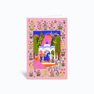 Horse Temple Pink Greetings Card