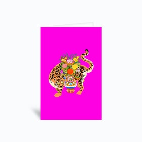 Good Luck Tiger Fluo Pink Greetings Card