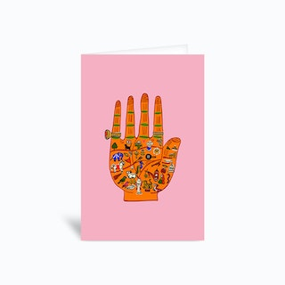 Indian Palmistry Pink Greetings Card