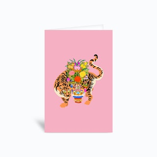 Good Luck Tiger Pink Greetings Card