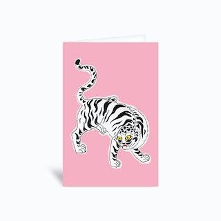 White Tiger Pink Greetings Card