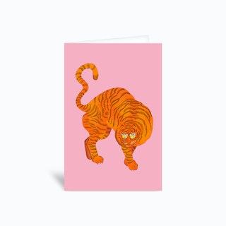 Tiger Blue Pink Greetings Card