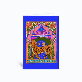 Tiger Temple Blue Greetings Card