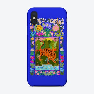 Tiger Garden Blue Phone Case