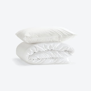 Single Percale Duvet Set (Duvet Cover + Pillow Case) - White