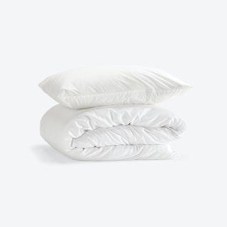 Double Percale Duvet Set (Duvet Cover + 2 Pillow Cases) - White