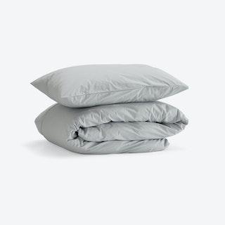 Double Percale Duvet Set (Duvet Cover + 2 Pillow Cases) - Light Grey