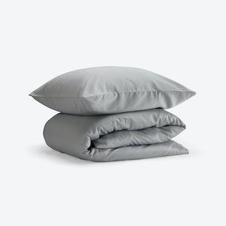 Double Sateen Duvet Set (Duvet Cover + 2 Pillow Cases) - Light Grey