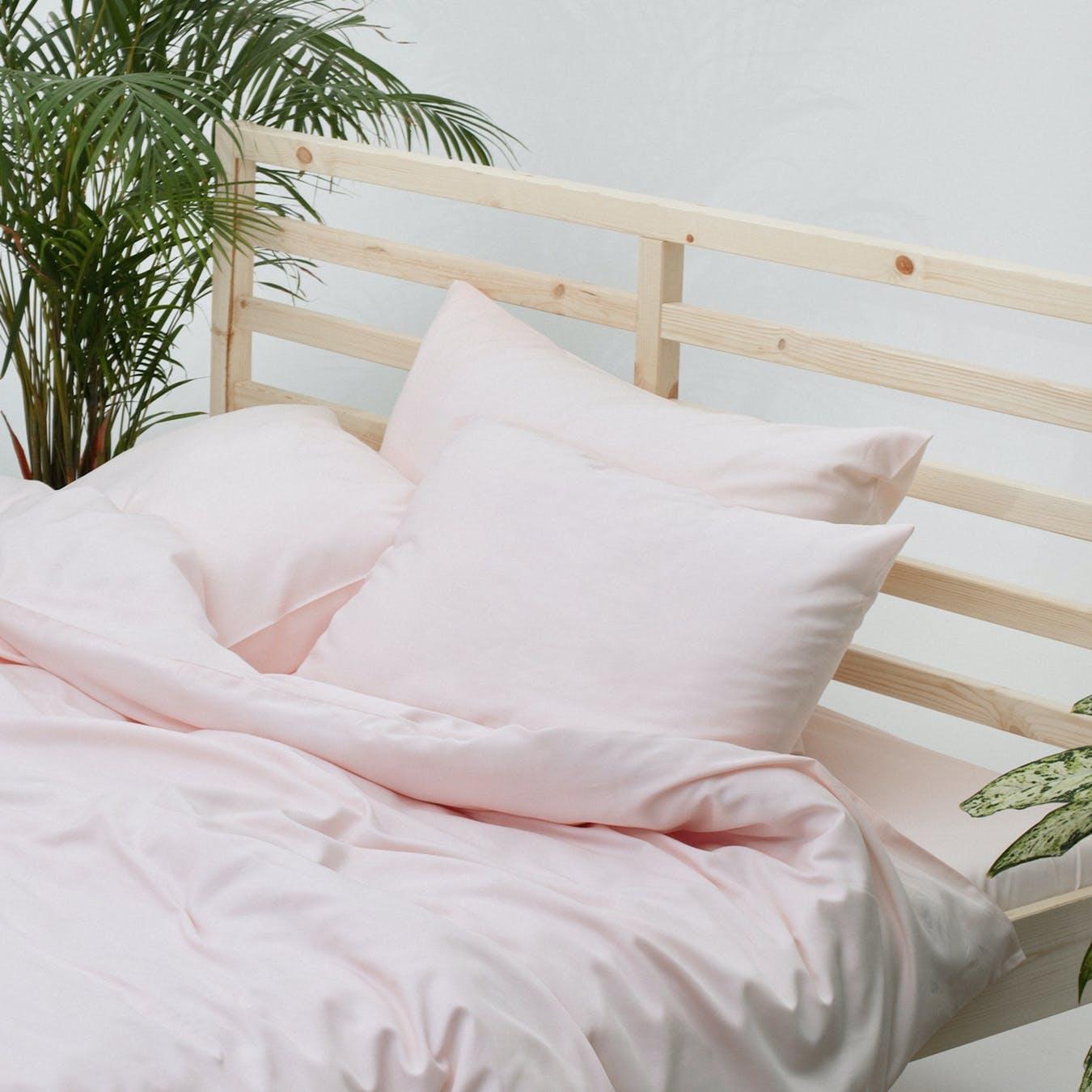 Double Sateen Duvet Set Duvet Cover 2 Pillow Cases Light Pink By Bedroommood Fy