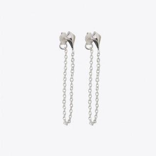 Diamond Chain Drop Earrings in Silver