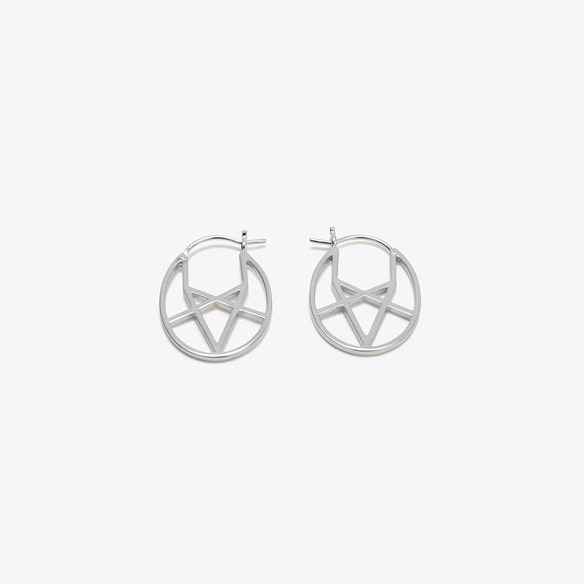 f50368507 Geometric Oval Hoop Earrings in Silver by OTIS JAXON - Fy